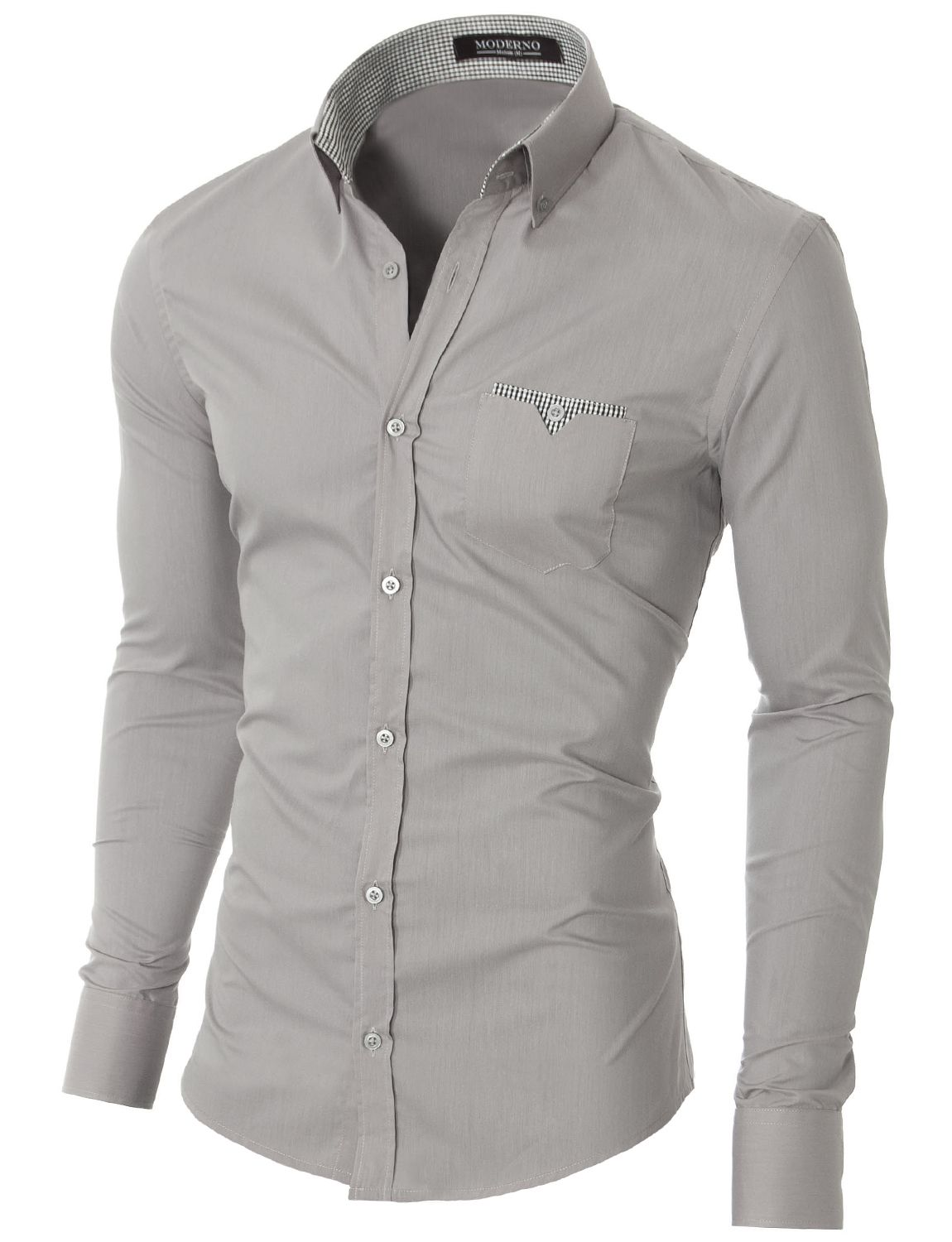 ef527bac672 MODERNO Mens Slim Fit Button-Down Shirt (VGD063LS) Gray. FREE worldwide  shipping! 30 days return policy
