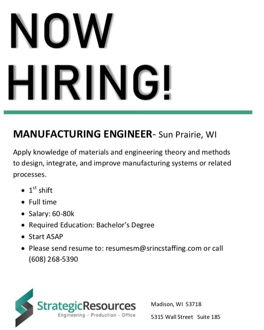 Looking For Manufacturing Engineer Job We Are Now Hiring Send