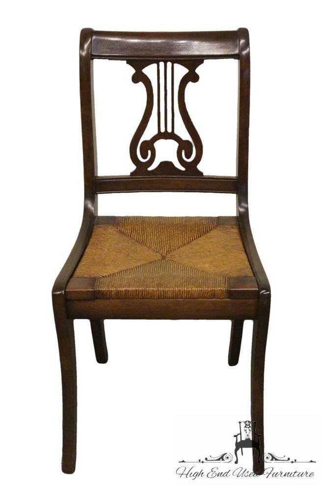 Surprising Antique 1940S Mahogany Duncan Phyfe Harp Lyre Back Rush Ncnpc Chair Design For Home Ncnpcorg