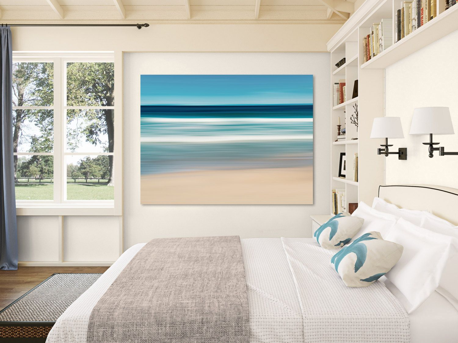 Fine art abstract photograph of South Beach on Marthas Vineyard, on a beautiful afternoon.  TITLE: South Beach Afternoon  * The photo will be printed directly onto canvas and stretched over a 1.5 wooden frame. The canvas is finished with semi-matte UV- and scratch-resistant coating. Canvas gallery wraps can be hung directly, unframed, onto a wall as a painting would hang in a gallery. * Canvases are printed by a professional lab using premium archival inks, and are finished with hanging…