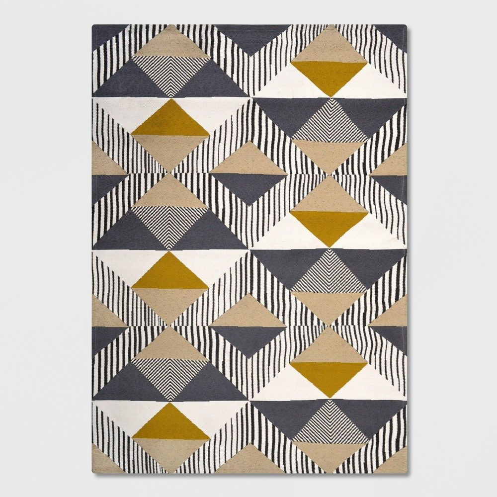 5 X 7 Austin Tile Outdoor Rug Gray Yellow Project 62 Modern Outdoor Rugs Outdoor Rugs Grey Rugs