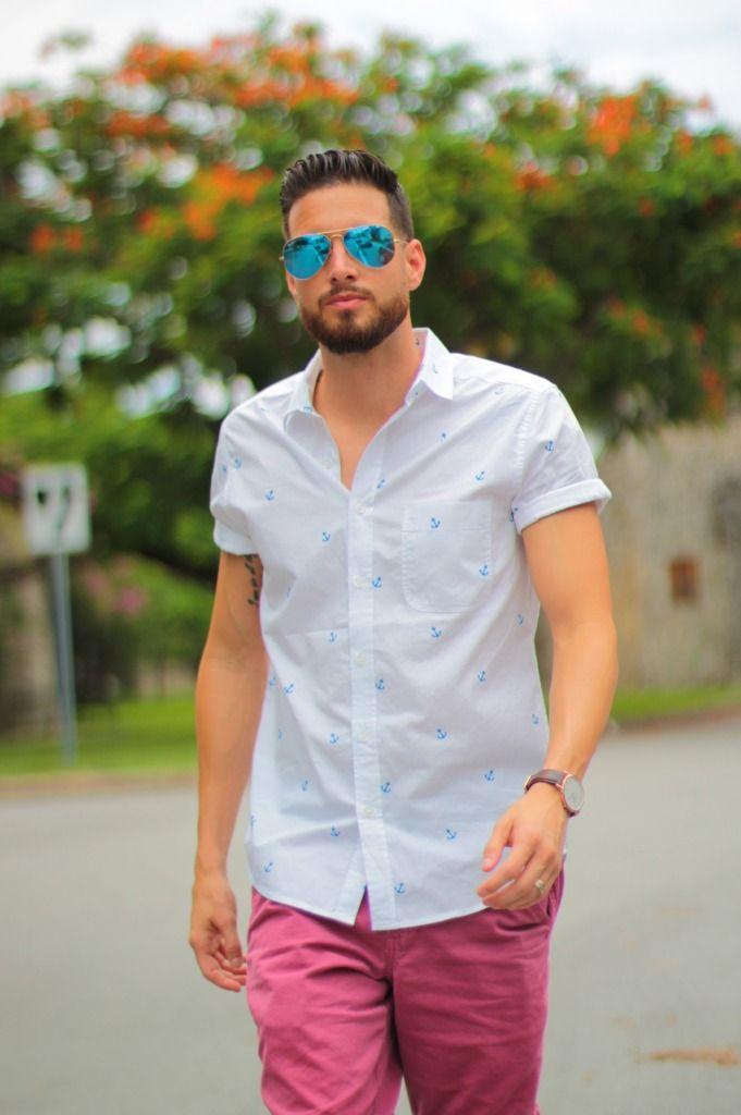 Maroon Shorts White Topman Blue Anchor Shirt Blue Ray Ban
