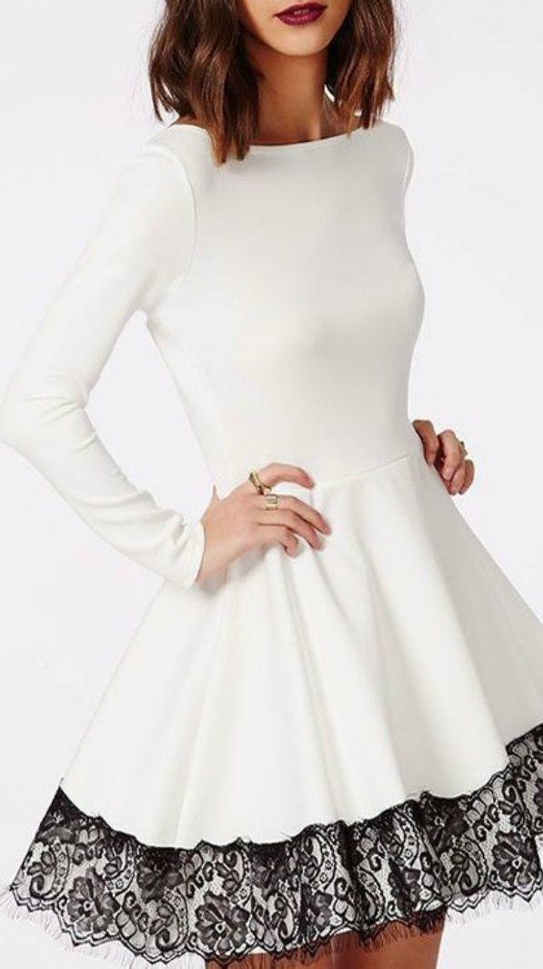 Business Semi Formal Boatneck White A Line Dress Black Lace Career