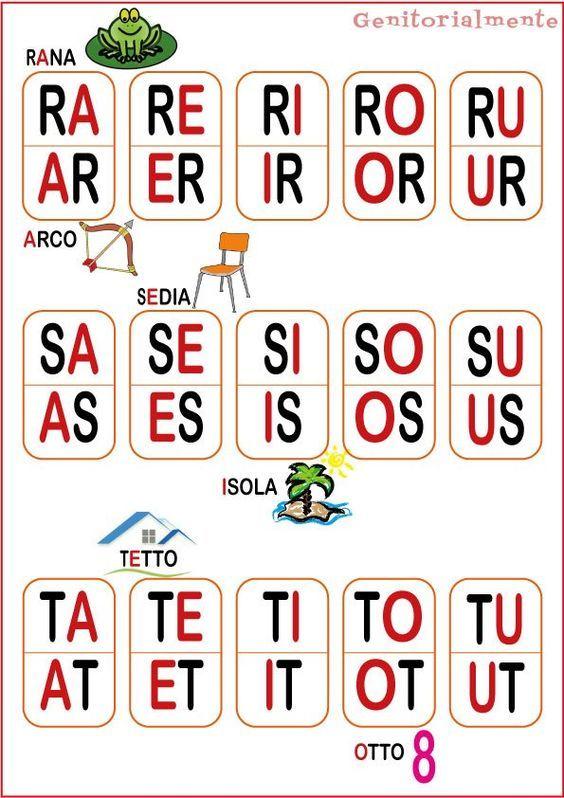 gioco con le sillabe per imparare a leggere schede da
