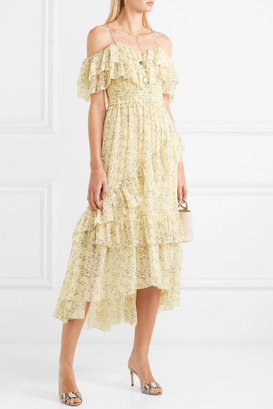 Penninah Cold-shoulder Ruffled Floral-print Silk-georgette Dress - Yellow Ulla Johnson A2CNViD7v