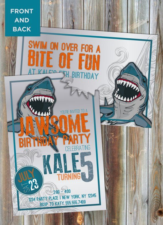 shark theme birthday invitation boy s birthday invitation pool