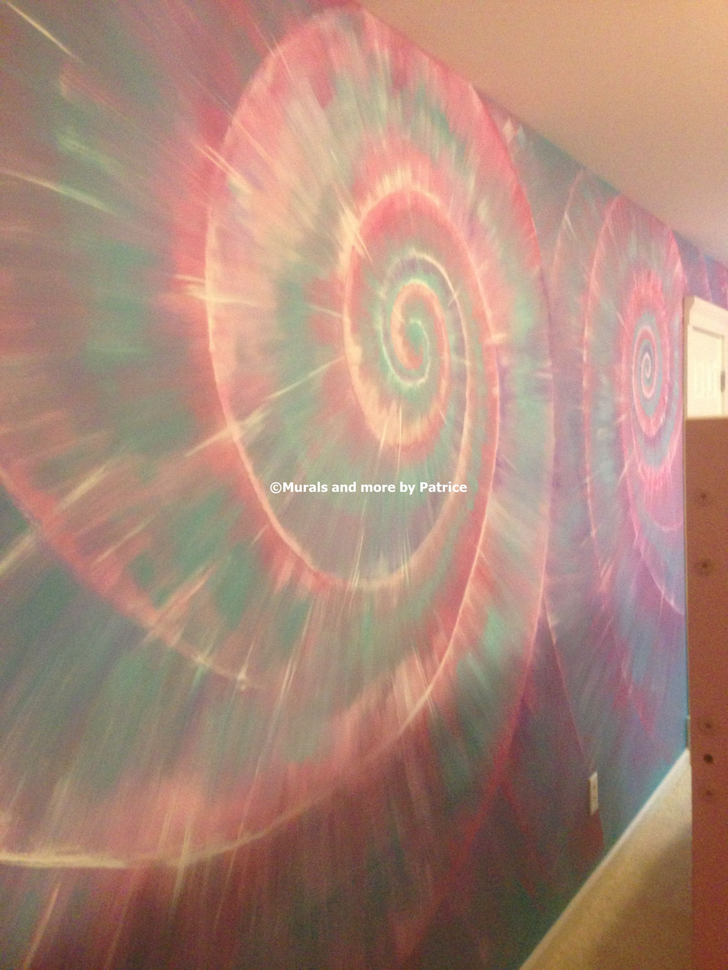 Murals and more by Patrice   Tie Dye painted wall   Peace love. Tie Dye wall   Pushing Paint This would go from babe to adulthood