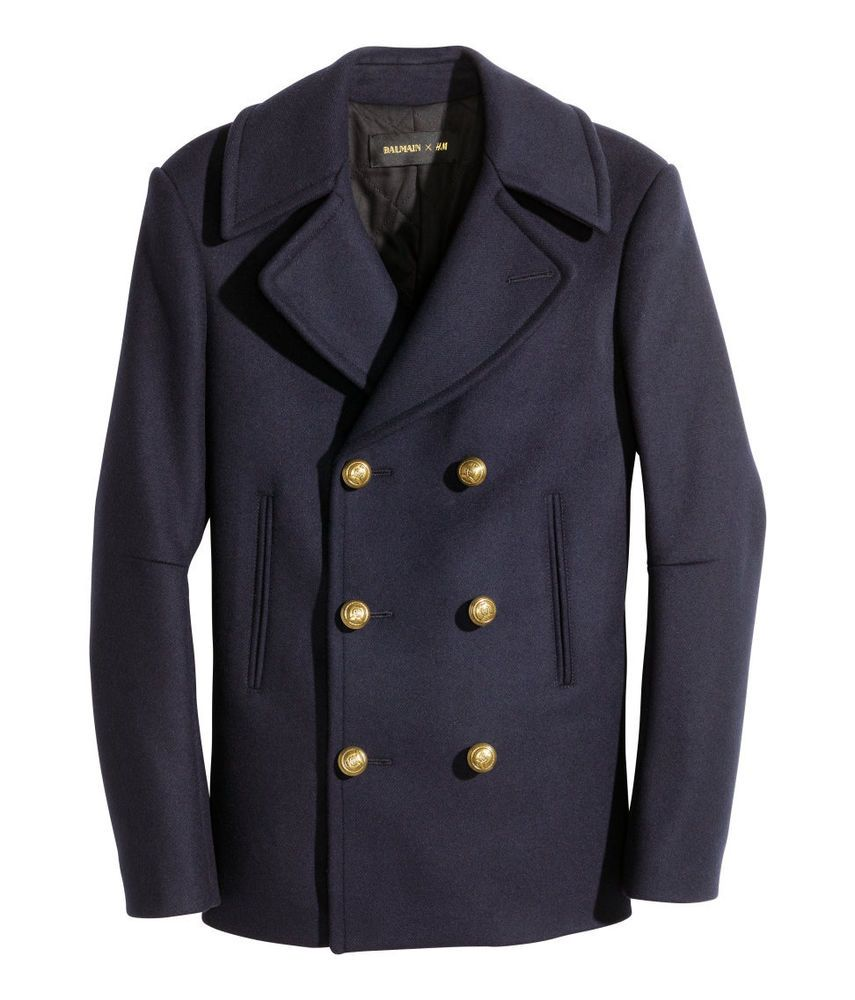 BALMAIN H&M Navy WOOL Blend PEA COAT Double Breast BRUSHED Finish ...