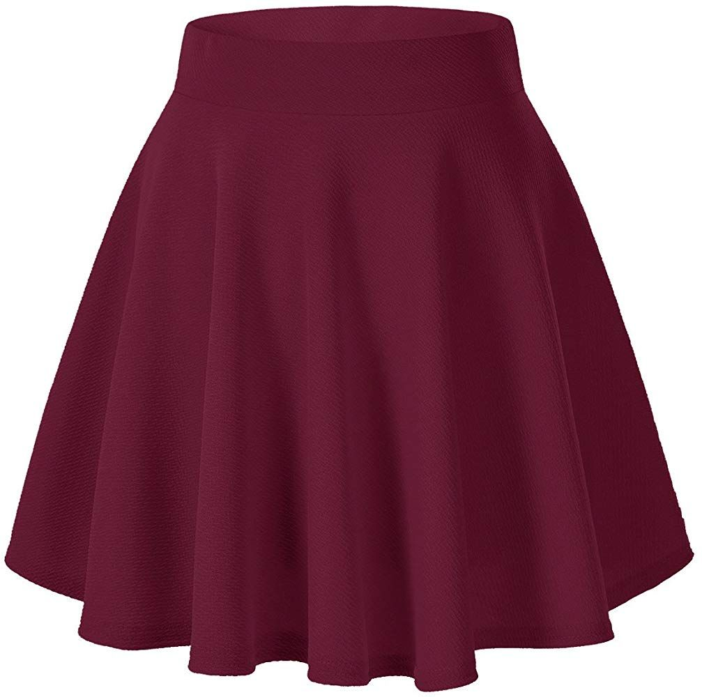 Urban Coco Women S Basic Versatile Stretchy Flared Casual Mini Skater Skirt Xs Wine Red Mini Skater Skirt Short Flared Skirt A Line Mini Skirt