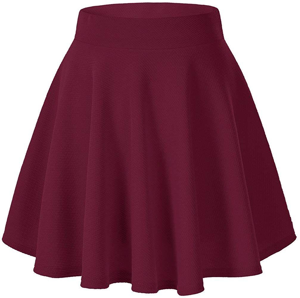 Urban Coco Women S Basic Versatile Stretchy Flared Casual Mini Skater Skirt Xs Wine Red Mini Skater Skirt Short Flared Skirt A Line Mini Skirt