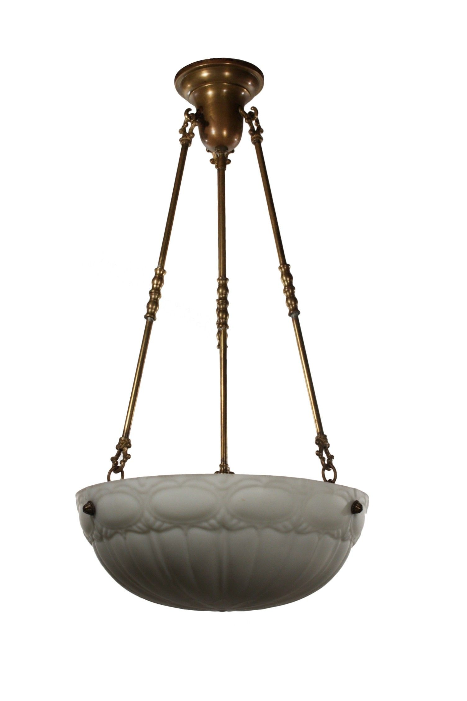 Antique Inverted Dome Chandelier C 1910