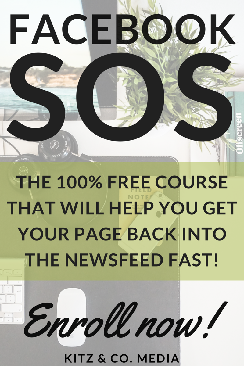 Facebook SOS: Getting nowhere with your Facebook page? It's time to throw it a lifeline. This FREE Facebook course will teach you how to get your page back into the newsfeed quick. And pain-free ;) Enroll now!