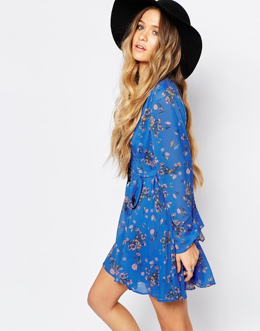 Free People Chiffon Lilou Dress in Cobalt Blue Print | My Style ...