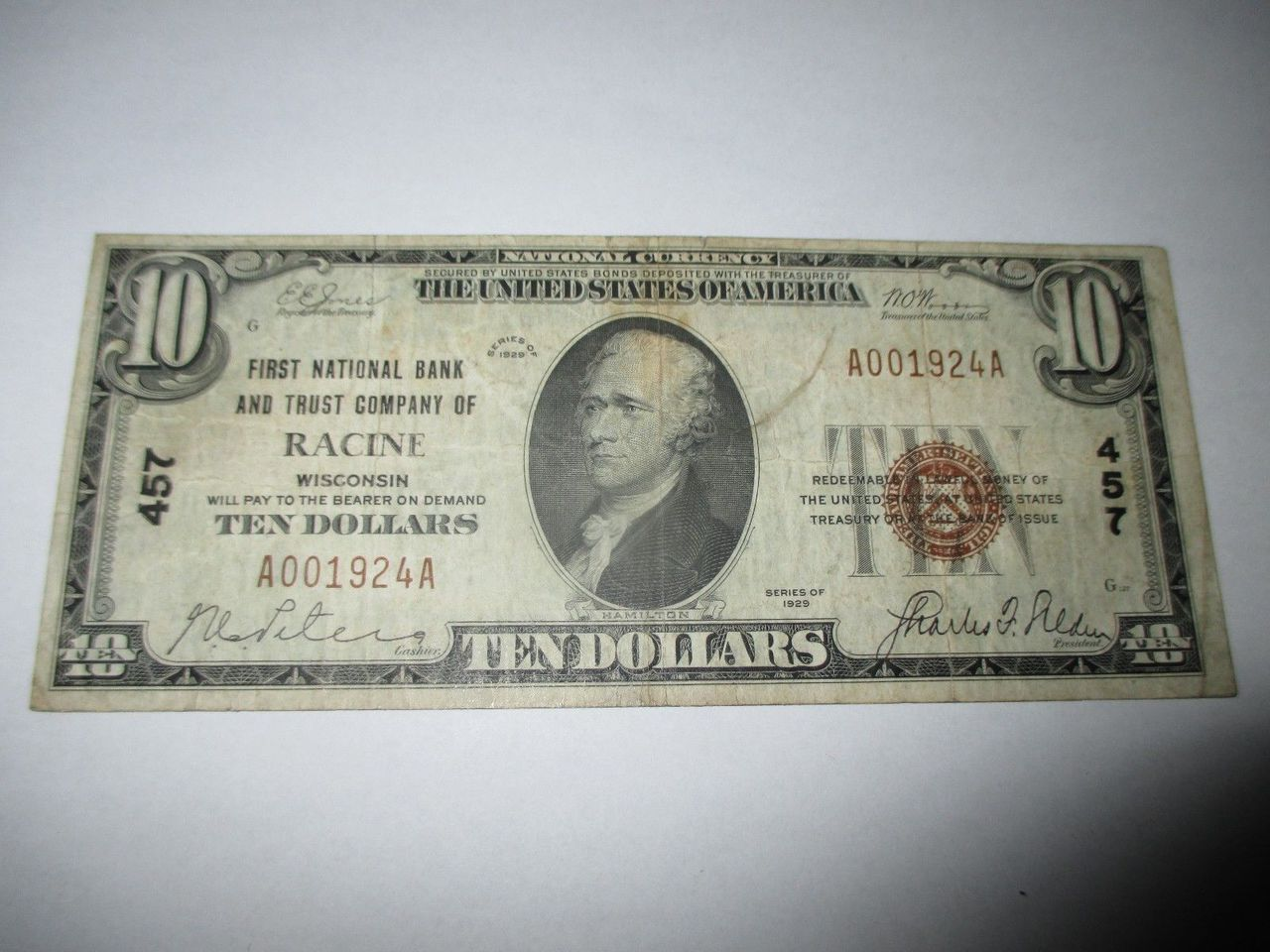 $10 1929 RACINE WISCONSIN WI NATIONAL CURRENCY BANK NOTE BILL CH. #457 FINE RARE