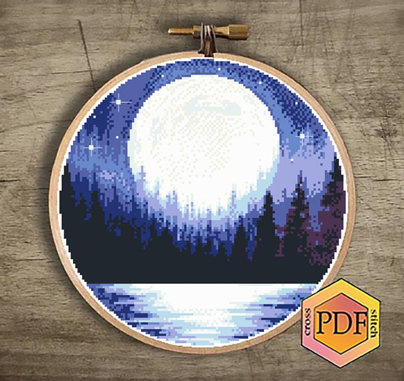 Moon Cross Stitch Pattern Pdf Landscape Modern Counted Cross Stitch Chart Nature Xstitch Starry Night Sky Hoop Embroidery Instant Download Moon Cross Stitch Modern Cross Stitch Patterns Cross Stitch Patterns
