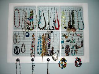 jewelry organizer from an old window Room Solutions Pinterest