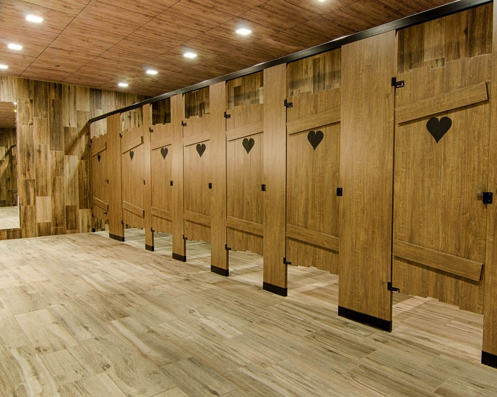 Ironwood Manufacturing custom shape laminate toilet partitions and ...