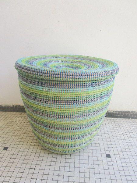 Aqua Colours Modern Basket Flat Lid Basket By Africanbaskets