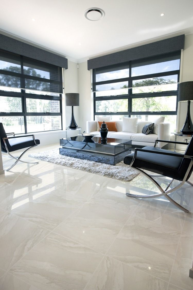 Full Polished Tiles For Living Room Living Room Tiles House Flooring White Floors Living Room #tiles #design #in #living #room