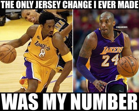 Rt Nbamemes Kobe Bryant S Only Jersey Change Loyalty Nbafunnymeme Com Where Nba And Funny Me Kobe Bryant Pictures Kobe Bryant Tattoos Kobe Bryant Memes