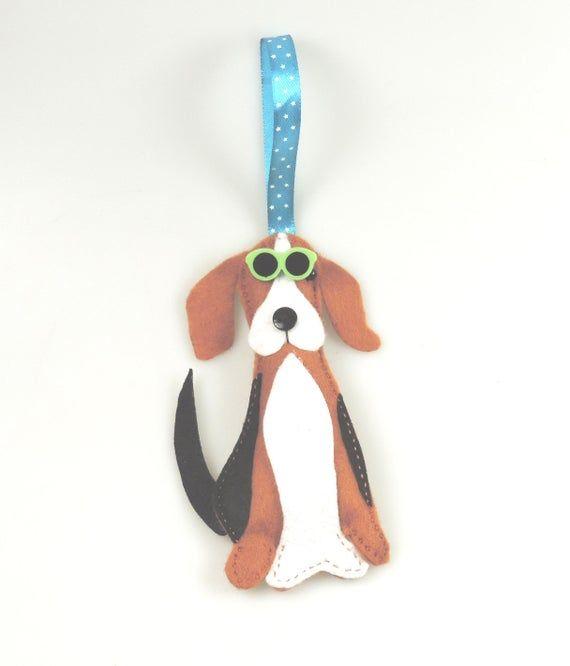 Summer Beagle Dog Wearing Sunglasses Handmade Felt Twig Tree