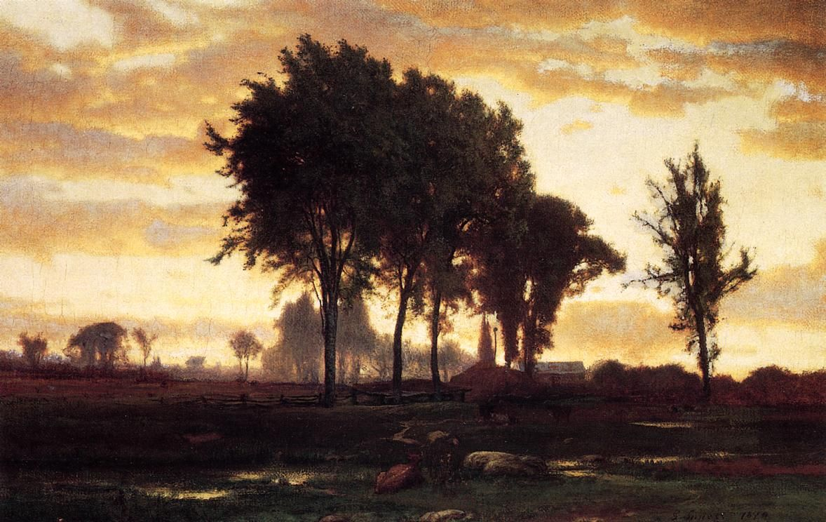 Landscape sunset, George Inness #painting