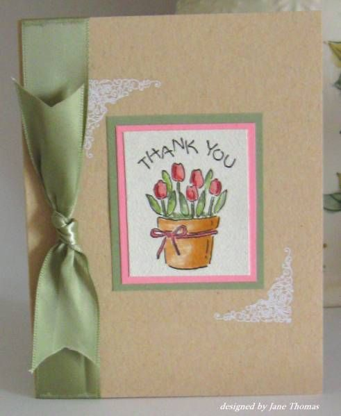 Simple tulip thanks by sunnyj - Cards and Paper Crafts at Splitcoaststampers