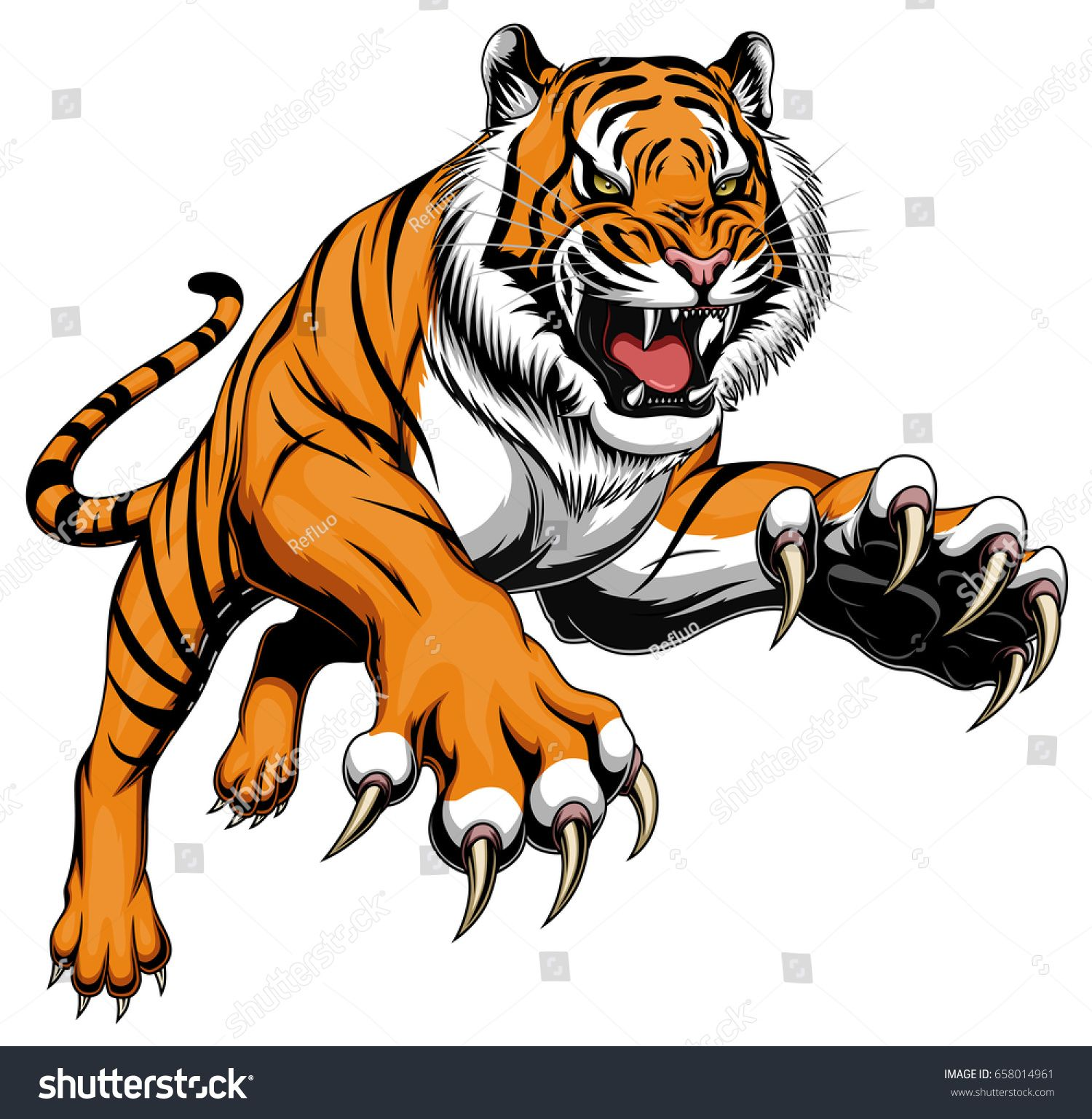 stock vector illustration of angry leaping tiger 1 500