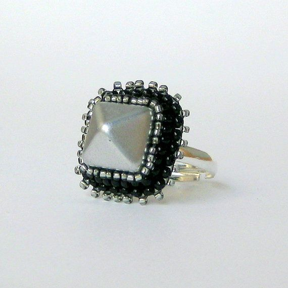 Studded Ring Silver and Black Beaded Spike Urban by MeganMilliken, $28.00