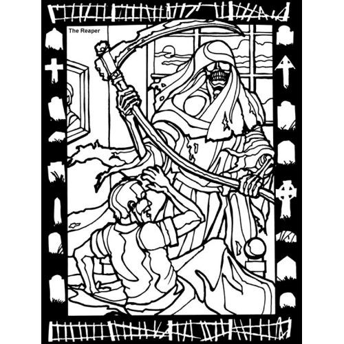 scary coloring pages for adults reaper coloring sheet postcard grim reaper coloring page postcard