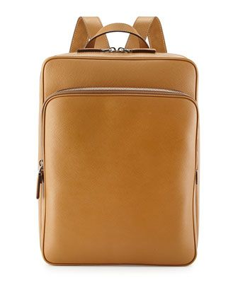 224d3ba6291 Saffiano Cuir Slim Backpack Caramel in 2019