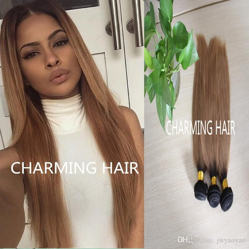 Dark Root Color 1b27 Honey Blonde Ombre Straight Hair Extensions