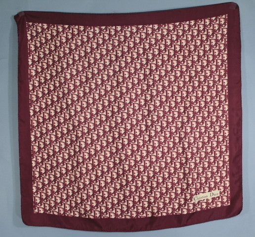 """Burgundy Red and cream color monogram with solid burgundy 2"""" border    """"Christian Dior"""" signature on bottom right hand ... cdd98bd892d8"""
