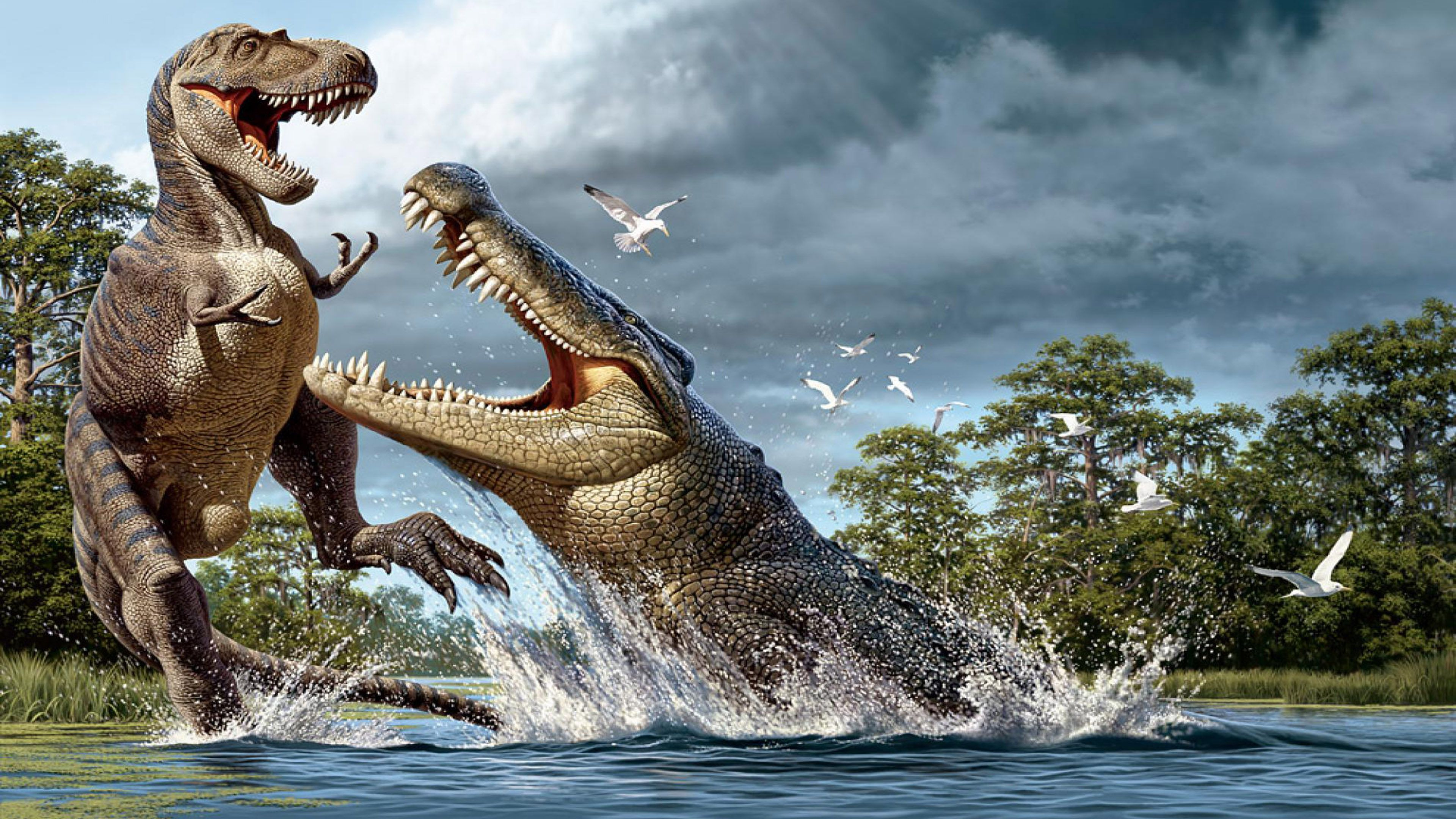 3840x2160px Free Download Hd Wallpaper Animals Pre 200 Million Years Dinosaurs And Crocodile Evolution Ultra Hd Wallpaper Animals Cross Paintings Dinosaur