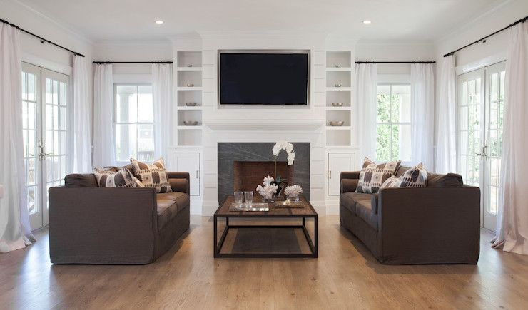 Christopher Home Furnishings Windows Flanking Fireplace