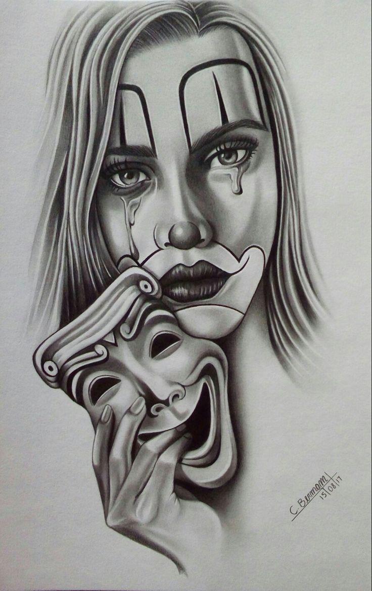 Chicana Clown Girl S Tattoo Design Arte Caverna By Cristiam Bermam Tattoos Artecaverna Berma Tattoo Designs For Girls Chicano Art Tattoos Girl Tattoos