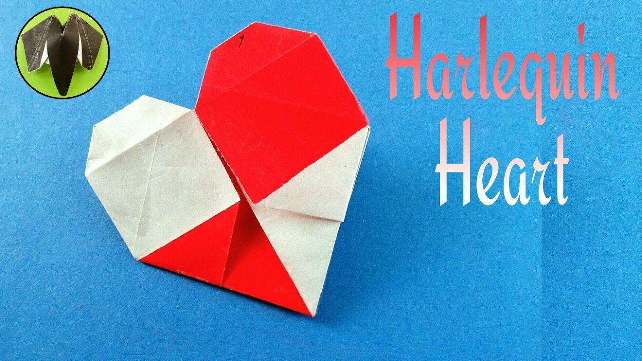 Harlequin Heart For Valentine S Day Diy Origami Tutorial From Paper Fo Origami Tutorial Diy Origami Valentine S Day Diy