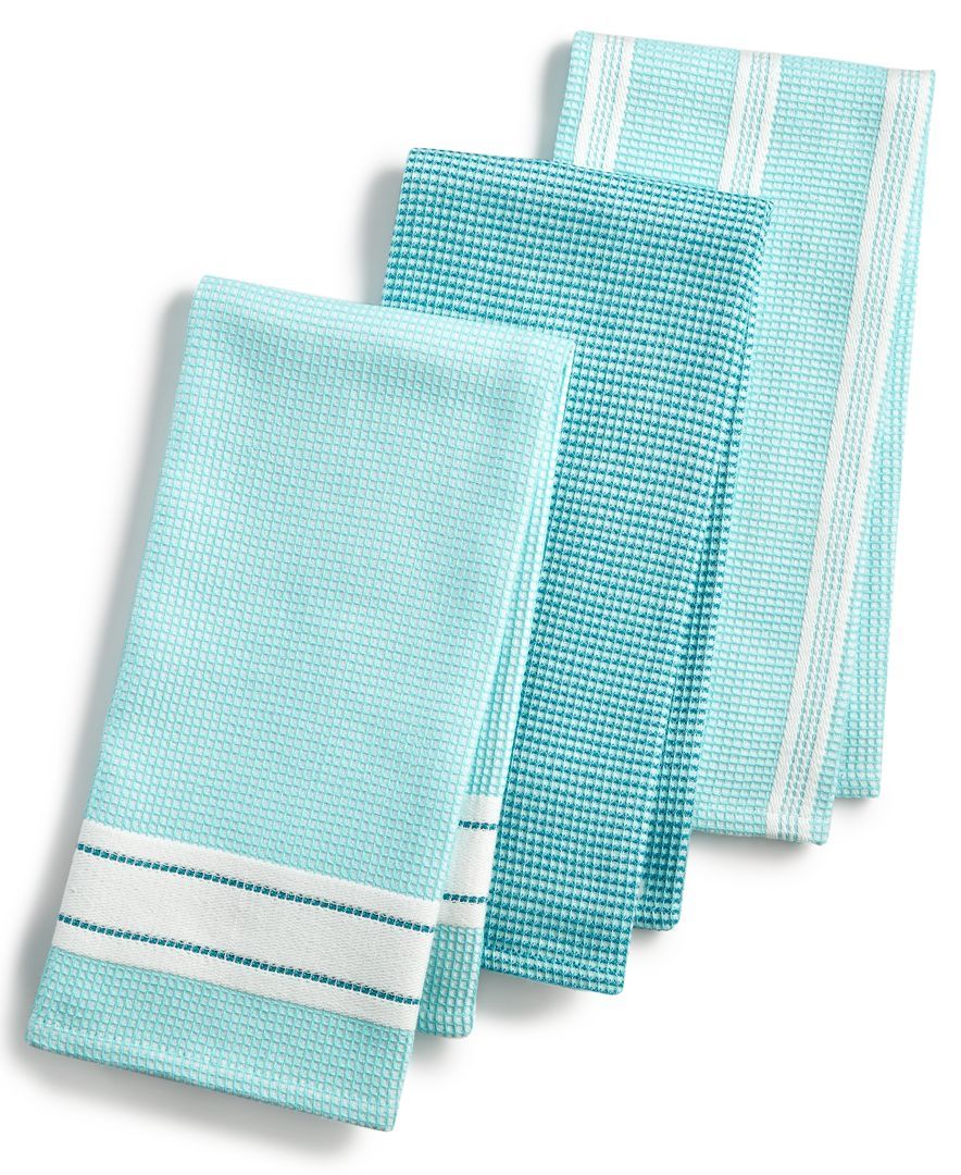 Martha Stewart Collection 3-Pc. Waffle Weave Kitchen Towels, Created