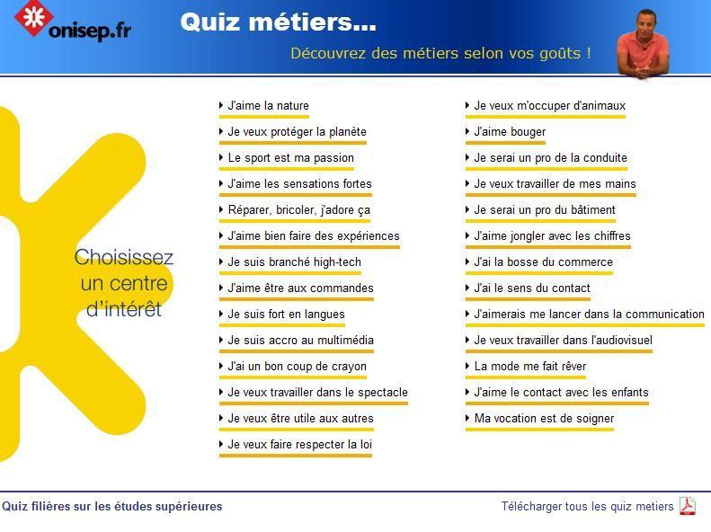 Onisep Quiz Metiers Quizz Metier Quiz Orientation Scolaire