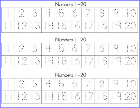 Simplicity image regarding free printable tracing numbers 1 20 worksheets