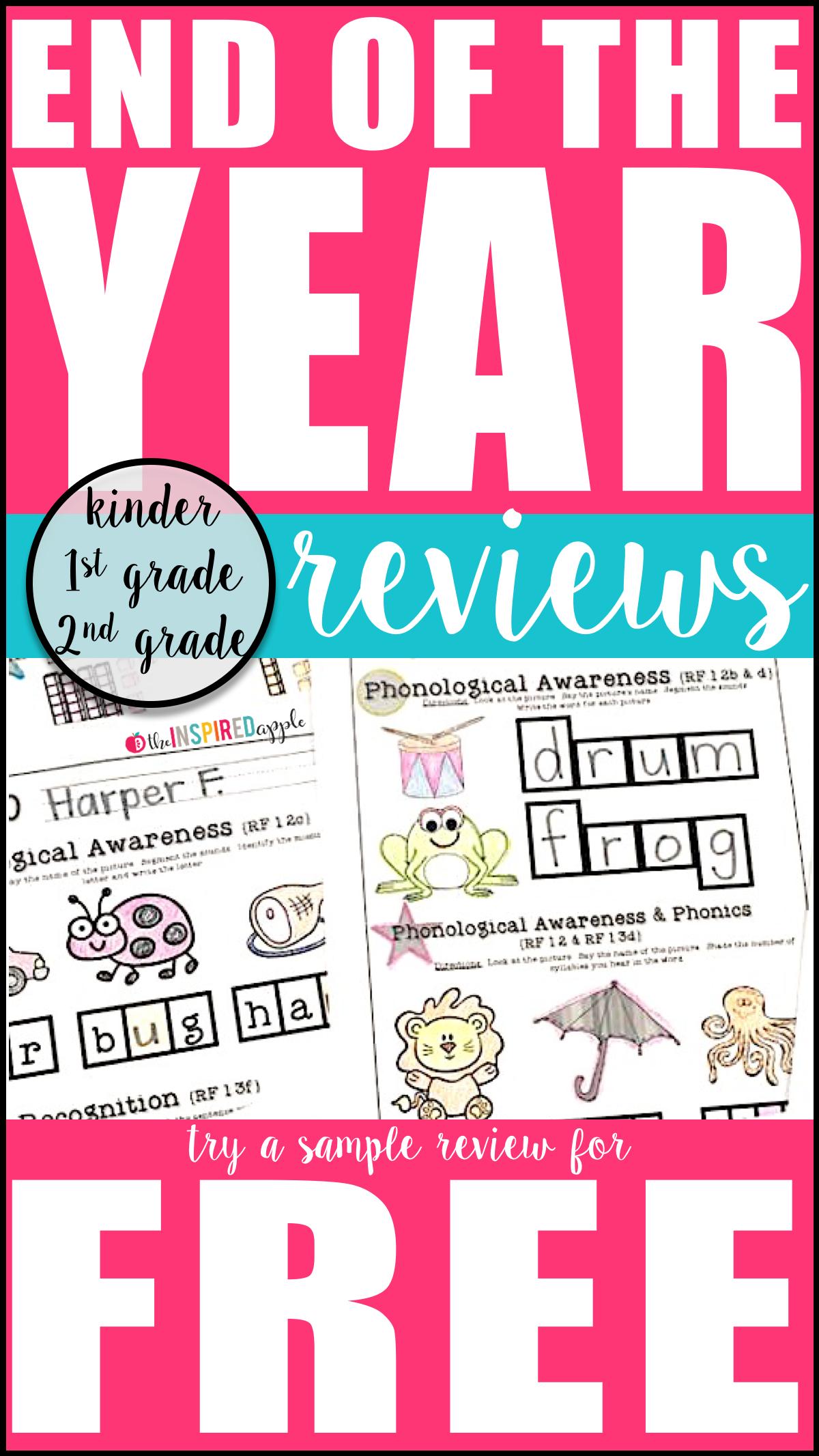 Kindergarten First Grade And Second Grade Reviews
