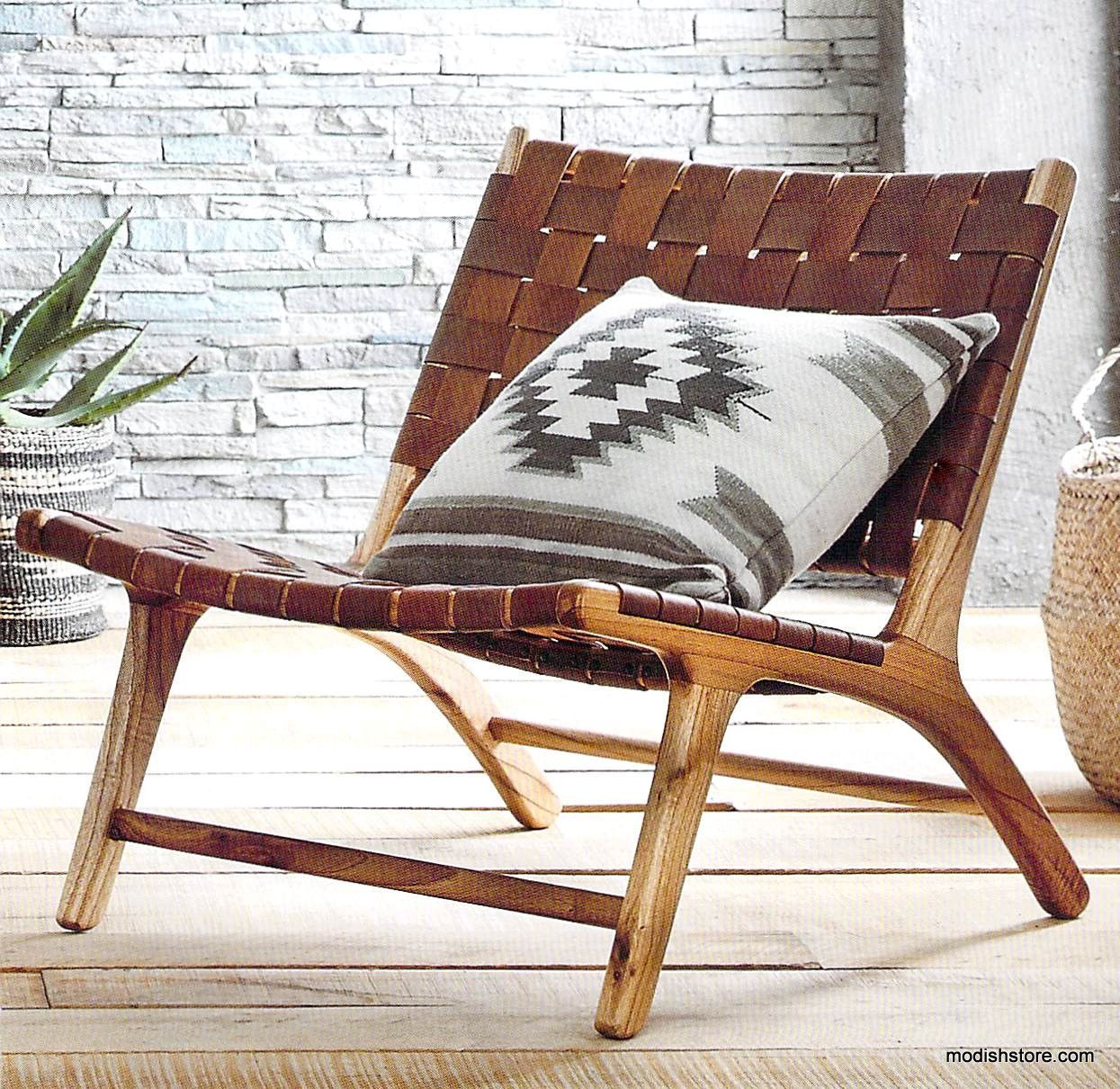 Our Low, Woven, Leather Chair Makes Lounging And Inescapable Temptation.  Leather Straps In A Rich Caramel Color Are Woven Onto A White Cedar  Hardwood Frame ...