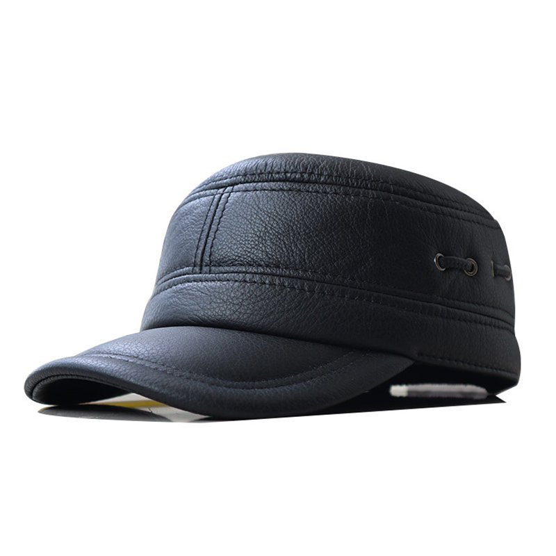 Genuine Leather Warm Baseball Cap With Ears Flaps Adjustable Thickened Vintage