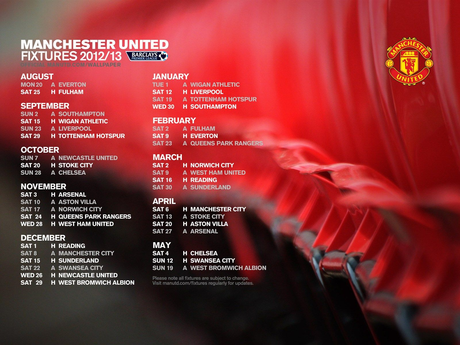 Manchester United Fixtures 2012 2013 Manchester United Wigan Athletic Official Manchester United Website