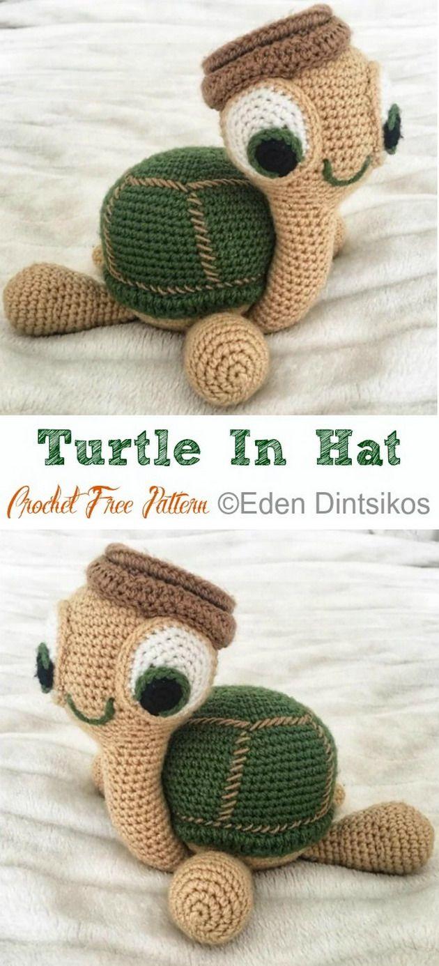 Crochet Amigurumi Turtle In Hat Free Patterns