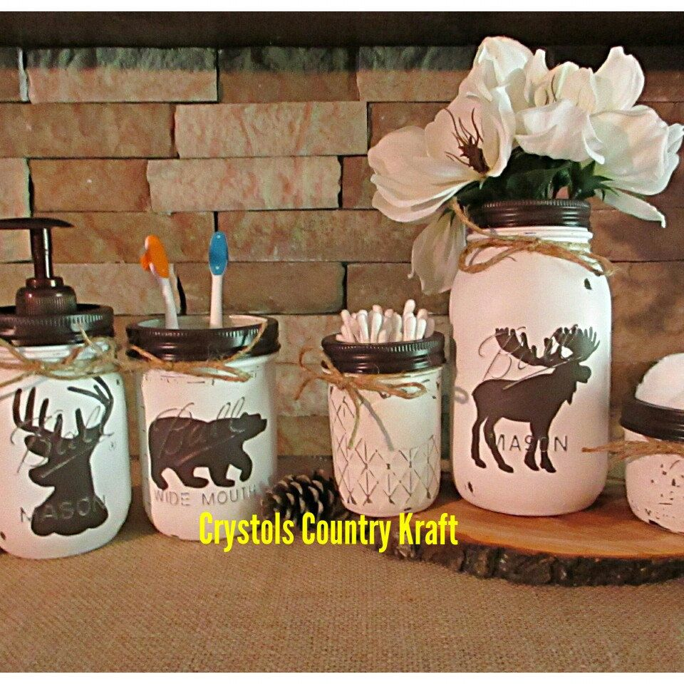Deer Bear Moose Woodland Bathroom Theme White And Brown