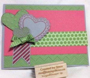 Stamping with Stace creates a card using Hearts a Flutter stamps and framelits. Stampin' Up!