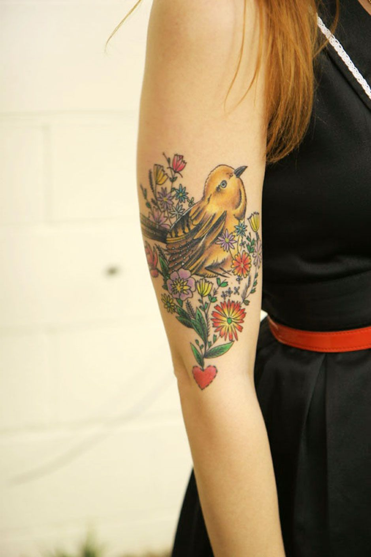 Birdie And Flowers Tattoo Idea