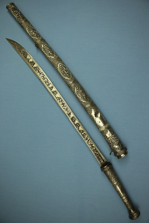 Weapons and marBurmese presentaion sword Fuller silver dress Fine repousse work Story Dah/Dha #cowboysandcowgirls