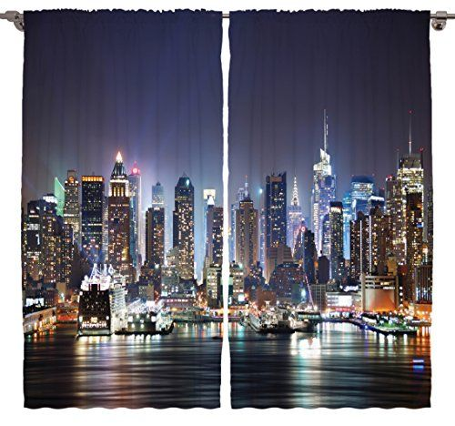 Pictures New York City Manhattan Skyline At Night Skyscrapers For Living Room Curtains Art Work